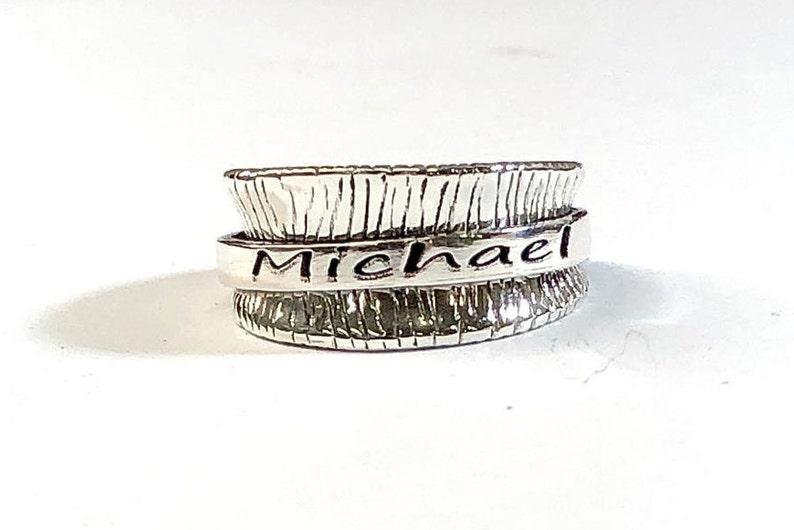 Custom Name Ring Personalized Name Ring Engraved Name Ring Spinner Ring for Women Chunky Ring Boho Ring Silver Name Ring