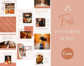Fall Instagram Post Templates   Autumn Social Media Templates   Canva Templates   Warm Instagram Feed   Content Creator Template