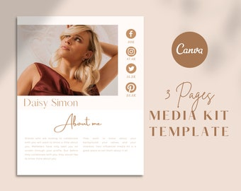 3 Pages Media Kit Template   Canva Template   Blogger Media Kit   Instagram Influencer Media Kit   Media Press Kit