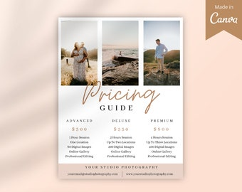 Photography Pricing Template   Price Guide List For Photographers   Canva Photographer Pricing   Photo Price List   Pricing Sheet