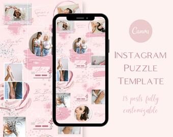 Artistic Instagram Puzzle Template   Canva Instagram Templates   Pink Instagram Puzzle Feed   Social Media Templates