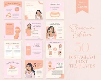 Skincare Instagram Post Templates   Esthetician Instagram   Skincare Templates for Social Media   Instagram Canva Templates