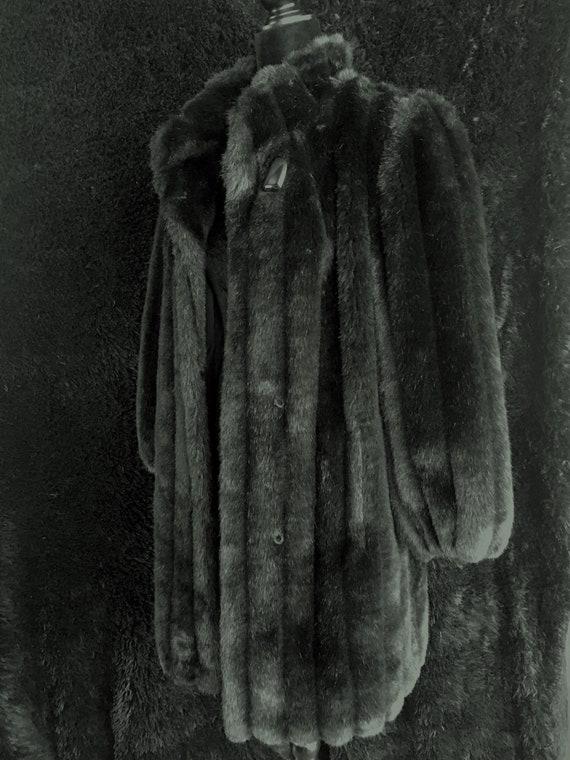 70's-80's Black Faux Fur Coat