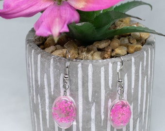 Dried Flowers Perfect gift for her. Brides earrings Pressed flower earrings Enchanted earrings Unique earrings