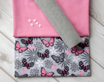 """Jersey fabric package with jersey animal print """"butterflies"""", jersey pink, cuffs grey free buttons"""