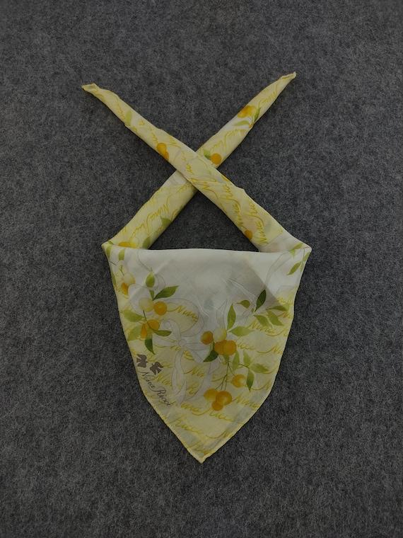 Vintage Nina Ricci Handkerchief Pocket Square Neckerchief Face Mask Floral Babushka Bandana Christmas Gift Head Band Hair Tie