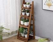 4-Tier Foldable Wooden Ladder Shelf Display Stand Unit Home Plant Flower Book Shelves Storage Rack