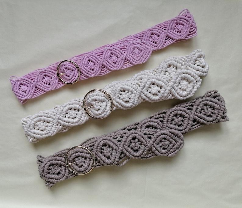 beige hippie belt festival belt ivory Modern macrame belt pink gypsy belt