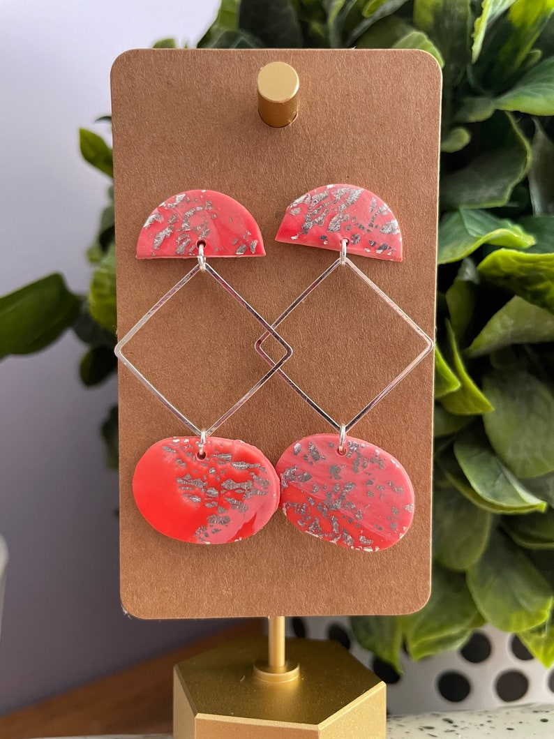 Handmade Pink and Coral Clay Dangle Earrings Mixed Materials Geometric