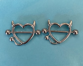 Devil heart nipple piercing ring- surgical steel