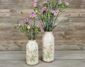 Vintage style vase bottles with floral design, small or medium