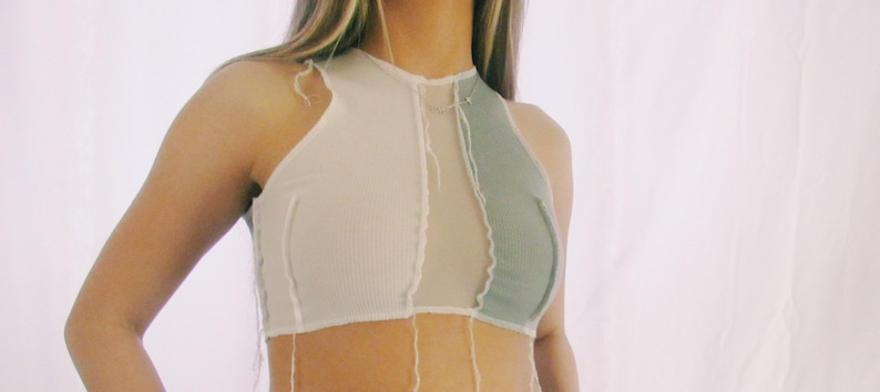 Cropped Contrast Mesh Top