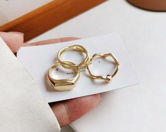 Gold Ring Set, Band Ring Set, 3 Piece Ring Set, Minimalist Ring, Streetwear Ring, Cool Ring, Gold Stacking Band Ring, Gold Band Ring