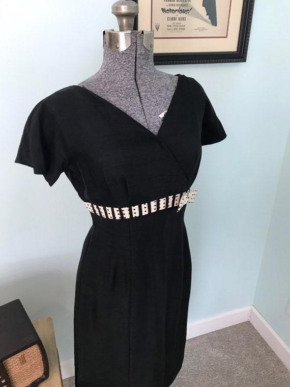 1950s Black Homemade Wiggle Dress