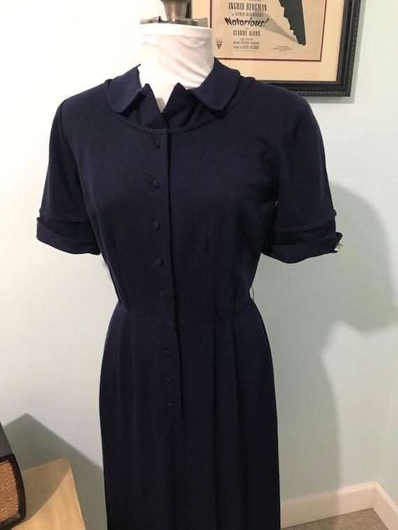 1950s - 60s Vintage Blue Wool Dress