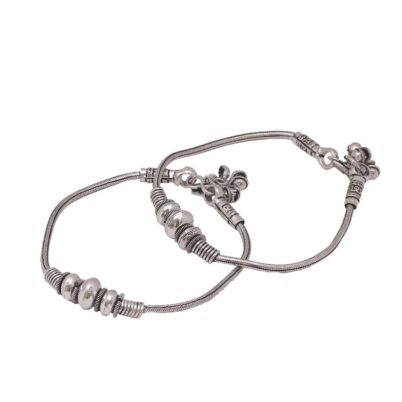 High QualityOxidized Greman Silver plated Stylish Spring Buds Design Pair Anklets Boho Anklets Women tribal Look