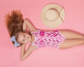 Preppy Floral Pink Girls Toddler Swimsuit