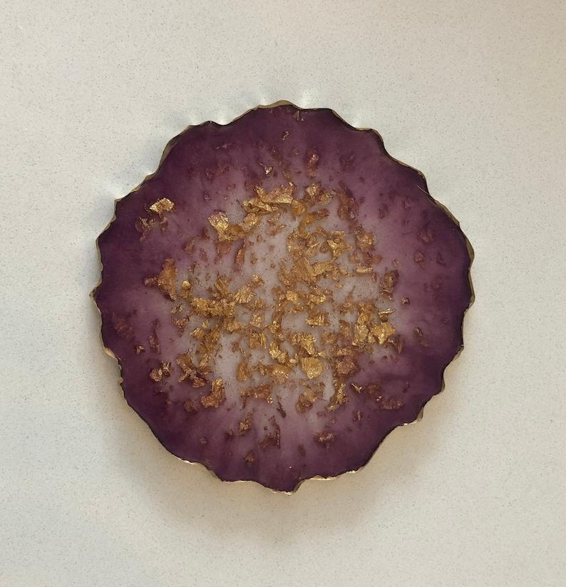 Purple /& Gold Resin Coaster *Colours Customizable*