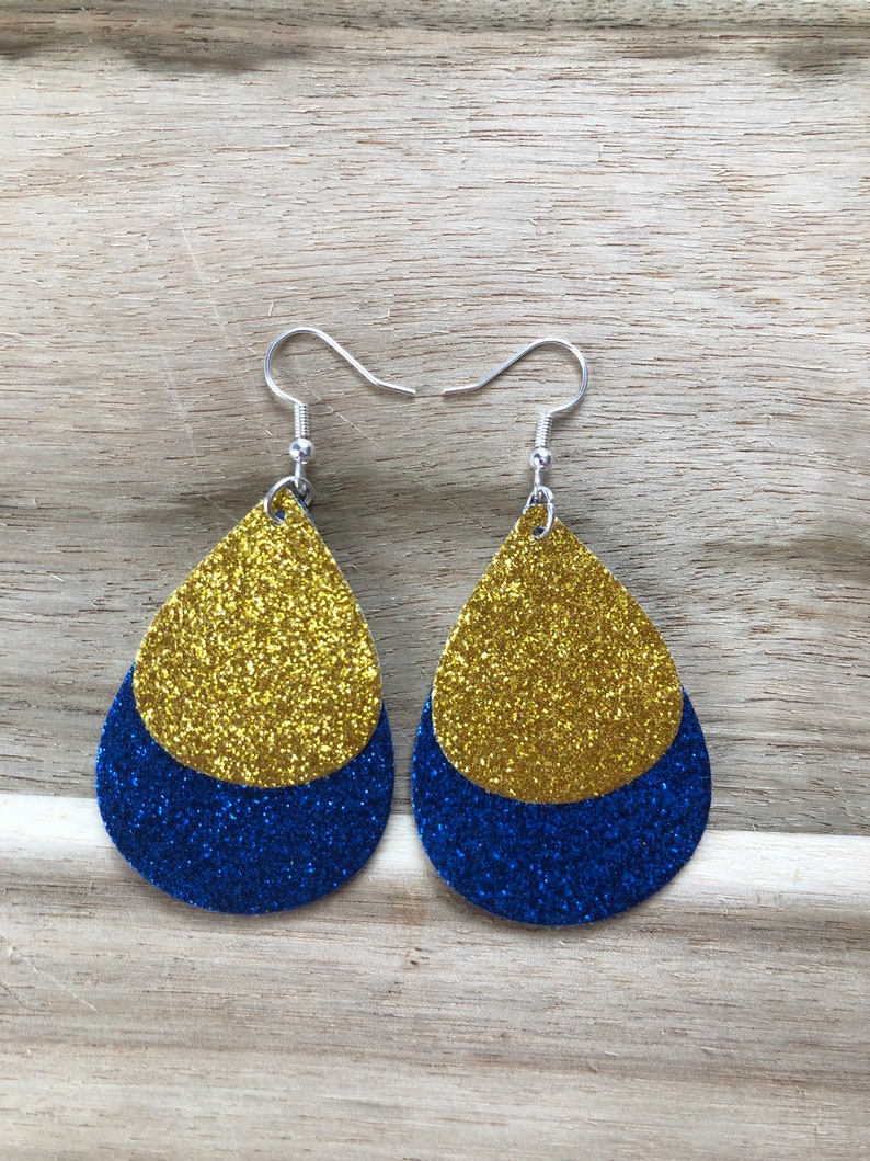 Double-Sided Blue and Gold Earrings