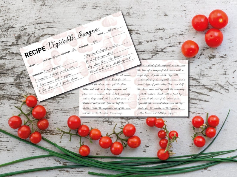 Recipe Card Template Printable recipe cards instant image 0