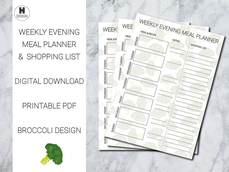 Weekly Meal Planner Template Printable Meal Organiser image 0