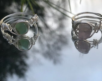 Handmade wire wrapped gemstone rings