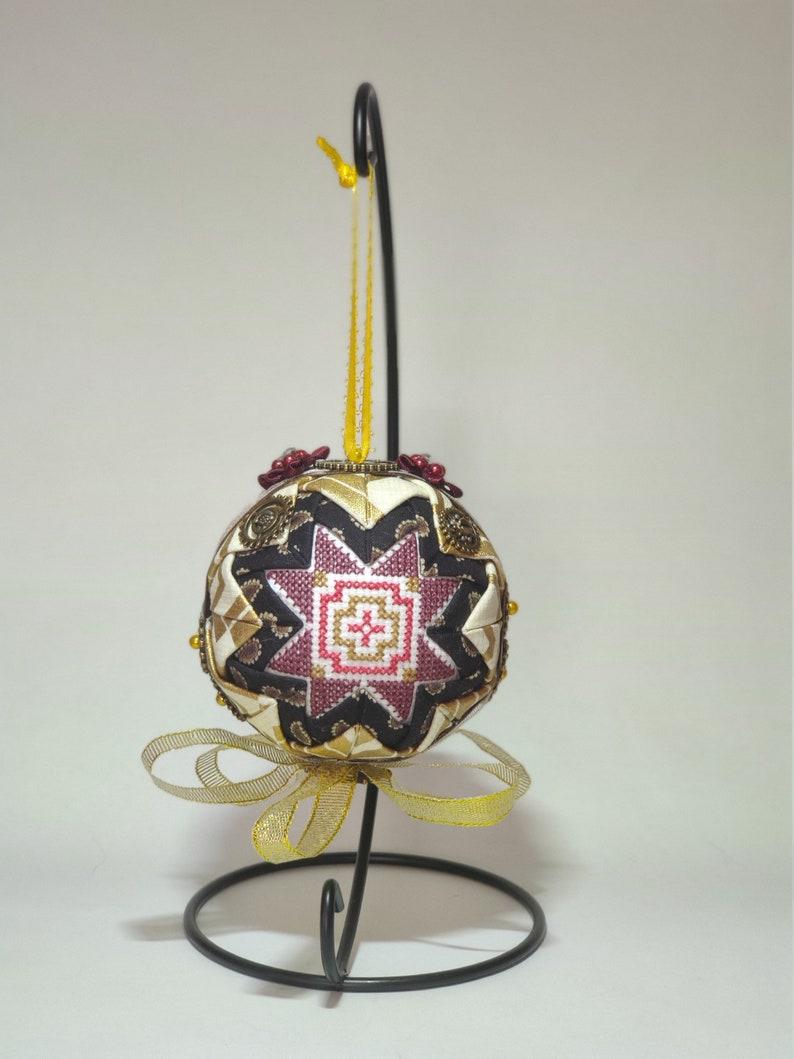 Steampunk  Cross Stitched Ornament