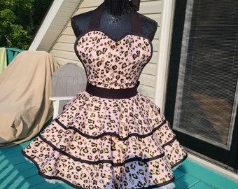 Pink Leopard Print  Retro Style Hostess Apron