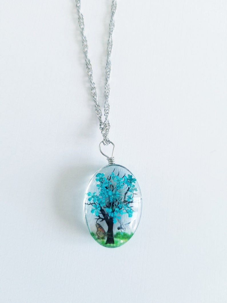 nature jewelry Tree necklace gift for her multiple color options tree with dragonflies and flowers in resin |mothers day gift
