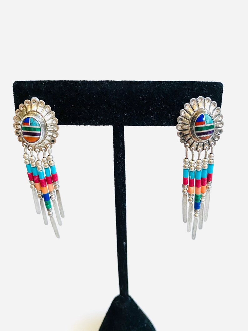 Coral Beaded Earrings 5.24g. Sterling Silver Vintage Southwestern Style Concho /& Blue Turquoise