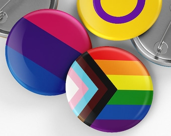 LGBTQ+ Button Badge Pin - 32mm - lesbian, gay, bisexual, pansexual, nonbinary, aromantic, asexual,grey asexual, bisexual