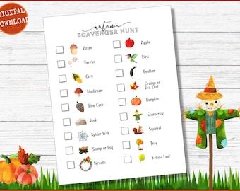 Autumn Scavenger Hunt, Fall Scavenger Hunt, Pumpkin Patch Scavenger Hunt, Outdoor Scavenger Hunt Printable