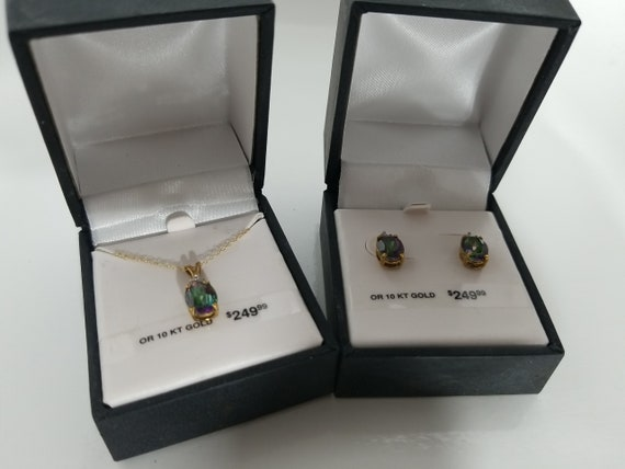 10k gold/ Rainbow Quarts matching earrings and nec