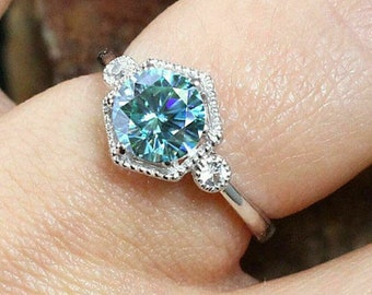 Natural 0.34ct Blue Diamond Solid 925 Sterling Silver Ring Rhodium Plated Wedding Band Birthday Engagement Ring Anniversary Gift Statement