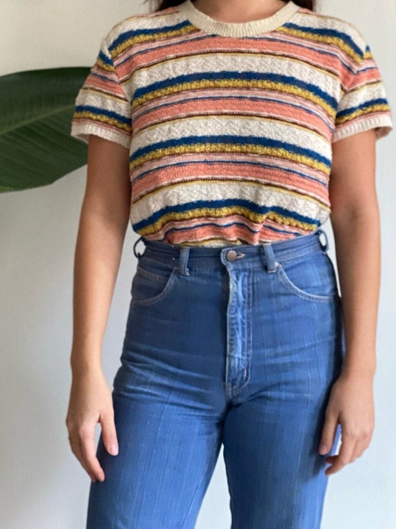 Striped Loose Knit Shirt 1970's