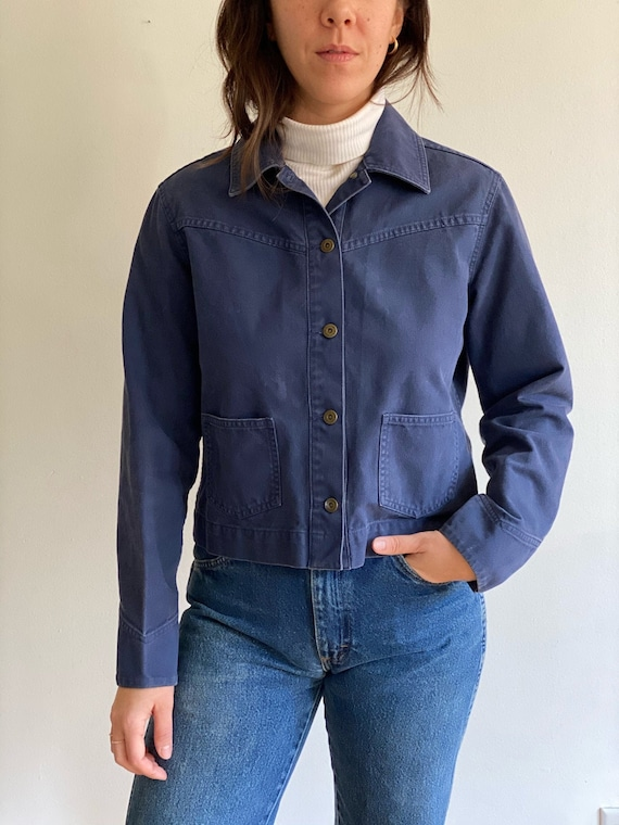 Cropped Pocketed Blue Cotton Jacket