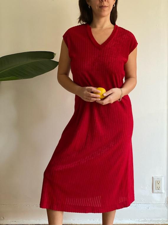 Red Velour Dress 1970's