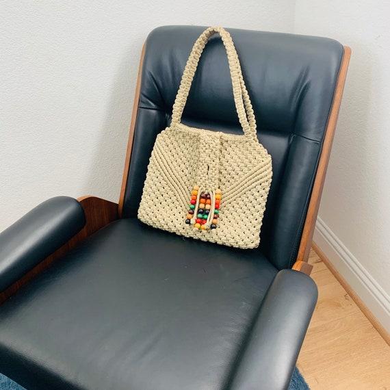 Vintage 70s Macrame Purse Shoulder Bag with Handma