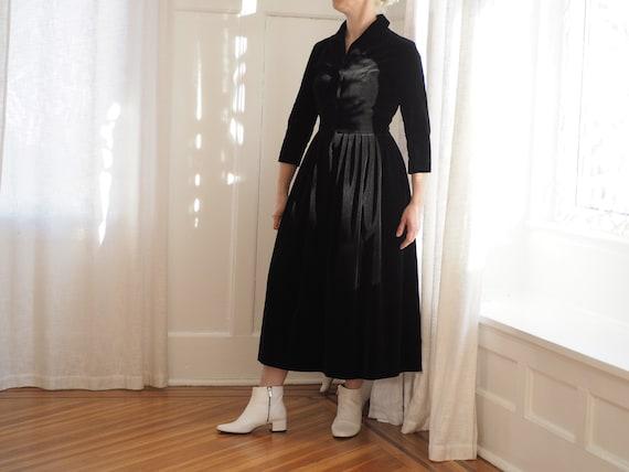 Vintage Black Velvet Midi Dress