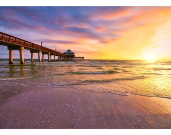 Fort Myers Bridge Sunset  Digital Download  Beach Photography  Original Art  Ocean Photography  Palm Trees  Sunset  Prints  Travel