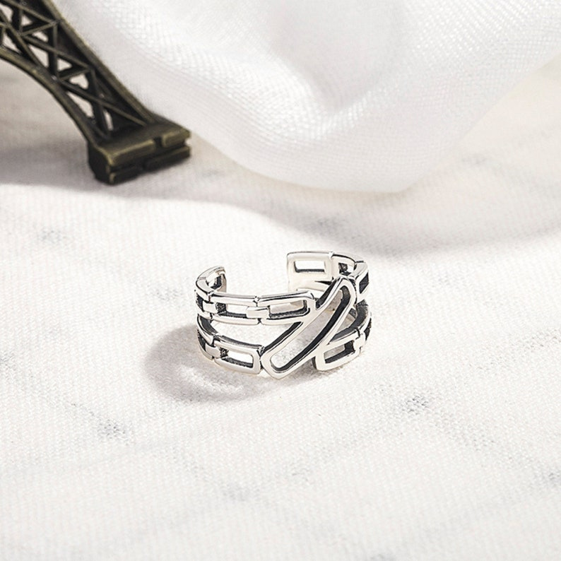 S925 Sterling Silver Ring Female Fashion Personality Retro Double Chain Open Ring