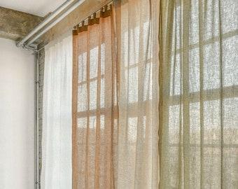 Tab top linen curtain panel, semi-sheer washed linen curtain, custom size linen drapes