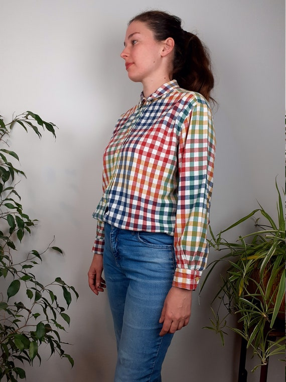 Vintage shirts for women, colorful checked boyfrie
