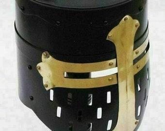 Medieval Crusader Halloween Templar Knight Helmet with Black Finish Brass Design Helmet