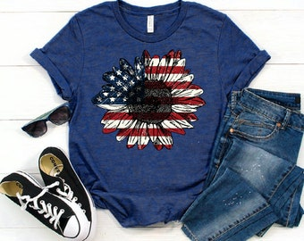 Sunflower Flag shirt, Sunflower American flag t-shirt, July 4th Shirt, Independence Day Shirt, vintage flag shirt - Unisex cotton shirt