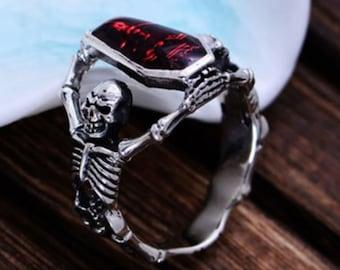 Handmade Jewelry Rings Vampire Skeleton Skull Bloody Red Coffin, Halloween Skeleton elevate Bloody Red Coffin Ring, Gothic Jewelry Halloween