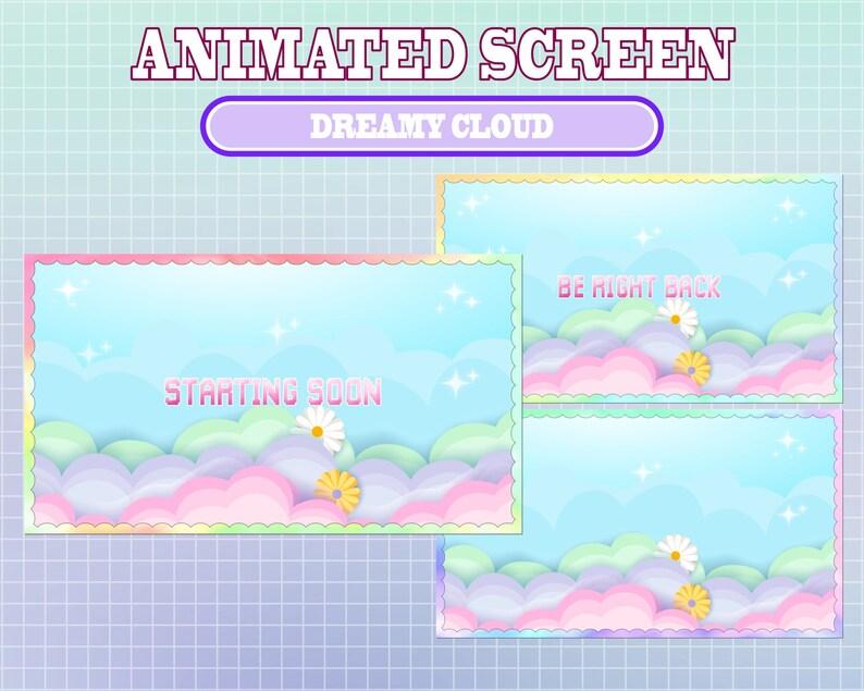 5 ANIMATED Twitch Cute Rainbow Dreamy Cloud Moon Screens  Offline  Brb  Starting Soon  Kawaii  Streamer  Sparkle  Stream Labs Widgets