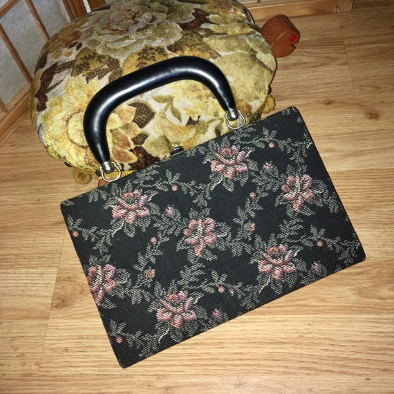 Vintage Tapestry Needlepoint Floral Purse 50s 60s