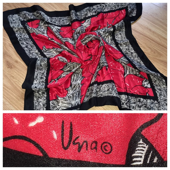 Vintage Vera Neumann Black Red Silk Square Scarf