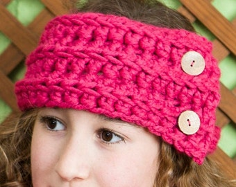Hand-knitted girl bandana with buttons, woolen headband, soft girl headband, gift ideas, color pink, color fuchsia